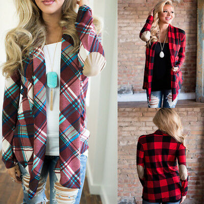 Fashion Womens Flannel Plaid Long Sleeve Shirts Casual Loose Blouse Jacket Tops