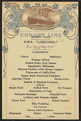 RMS Lusitania Cunard Line Menu Reprint On Original Period 1915 Paper Shipwreck