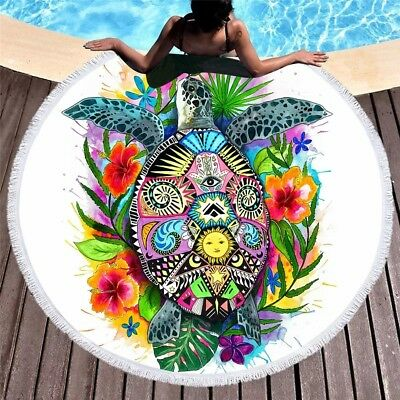 Turtle Life by Pixie Cold Art Large Round Beach Towel Tortoise Yoga Picnic Mat