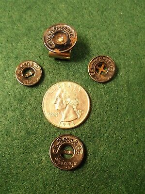 Rare Lot Of 4 Vtg Antique Black & Blue Enamel Shirt Jacket Buttons From Chicago