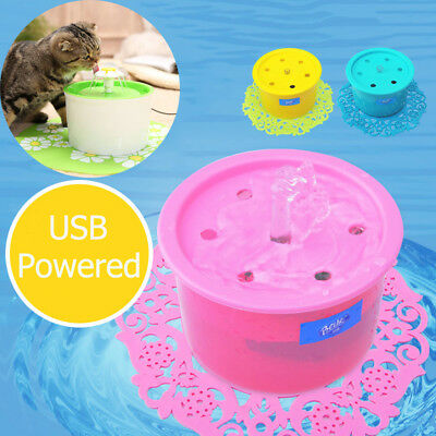 USB Powered Automatic Electric Pet Cat Dog Water Drinking Fountain Bowl Filter