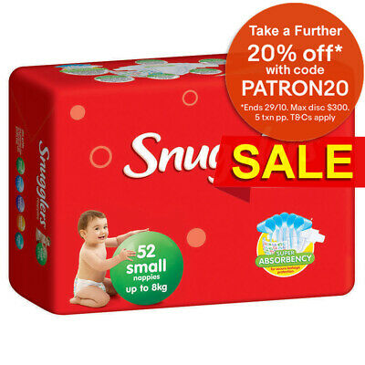 52PK Snugglers Small Size 0-8kg Super Absorbency Nappy/Diaper Unisex Infant/Baby