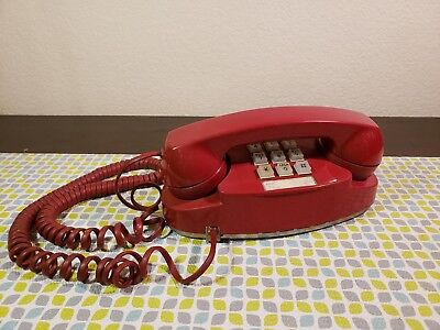 Vtg Retro MCM Western Electric Bell Systems Red Princess Lighted Touchtone Phone