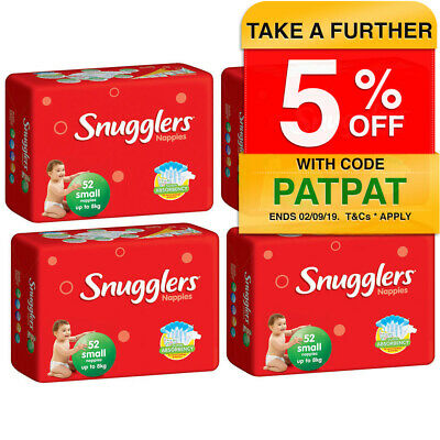 208PK Snugglers Small Size 8kg Super Absorbency Nappy/Diaper Unisex Infant/Baby