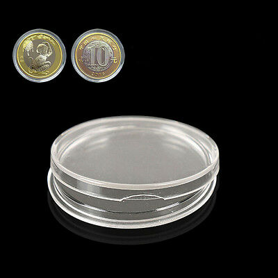 10pcs Plastic 27mm Applied Clear Round Cases Coin Storage Capsules Holder T La