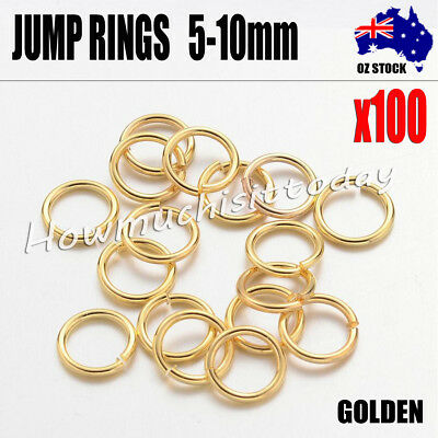 100x Jump Rings Split Close Unsoldered Brass, GOLDEN Color  5mm 6mm 7mm 8mm 10mm