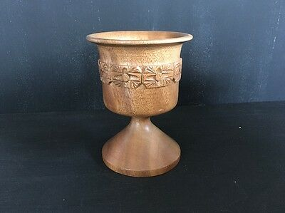 Decorative Turned Wooden Wine Goblet On Stem - Collectible Treen Style Piece