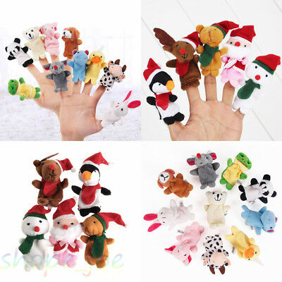 Cute Plush Zoo Farm Animal Hand Finger Puppets Soft Toy For Baby Children Kids