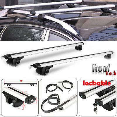 UNIVERSAL LOCKABLE ANTI THEFT CAR ROOF BARS FOR CARS WITH RAILS LOCKING Aluminum