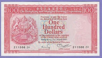 "Hong Kong,100 Dollars Banknote""Replacement"",1981About Uncirculated,Cat#187-C-ZH"