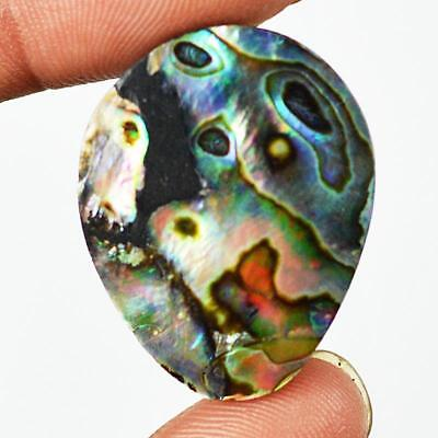 33ct 29X23mm Natural Abalone Mother of Pearl Pear Gemstone Doublet Cabochon RU42