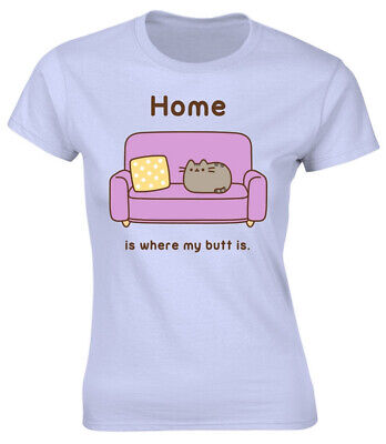 Pusheen 'Home' (Blue) Womens Fitted T-Shirt - NEW & OFFICIAL!