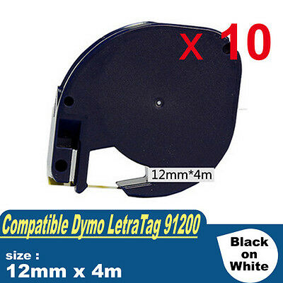 10 x Compatible for DYMO Paper Tape 12mm x 4m LetraTag 91200 S0721510 LT-100T