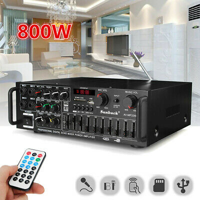 800W Watt 2CH Home Bluetooth EQ Stereo Power Amplifier Equalizer Amp USB/SD 220V