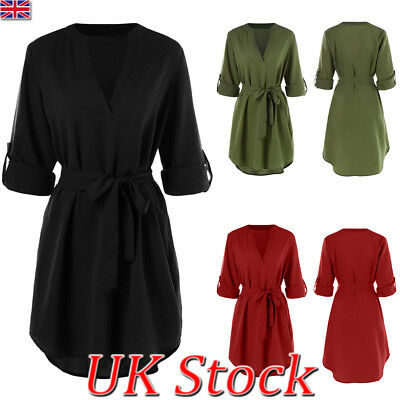 UK Womens V-neck Belt Shirt Dress Ladies Casual Rolled Sleeve Short Mini Dress