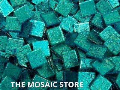 Aqua Silverfoil Glass Tiles 2 cm - Mosaic Tiles Supplies Art Craft