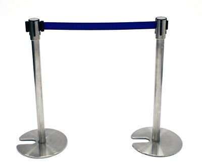 LG-18D Stainless Steel Stretch Barriers, Queue Dividers with Blue Webbing, 2M