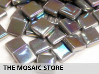 Charcoal Grey Iridised Glass Tiles 12mm - Mosaic Tiles Supplies Art Craft
