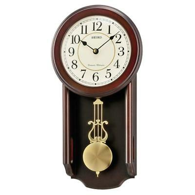 Seiko QXH063B Westminster/Whittington Dual Chime Wall Clock w/ Pendulam - Brown