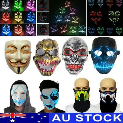 LED Light Up Flashing Mask Halloween Glowing Rave Dancing Party Favor Cosplay AU