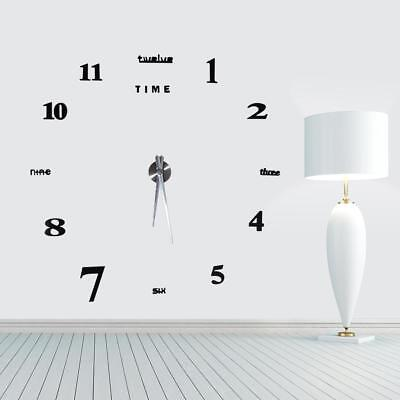 3D DIY Extra Large Numerals Luxury Mirror Wall Sticker Clock Home Office Decor