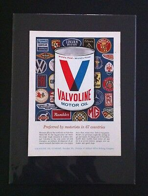 1960's Valvoline motor oil ad print 11x15 mounted gift Ford Chevy Olds Dodge GTO