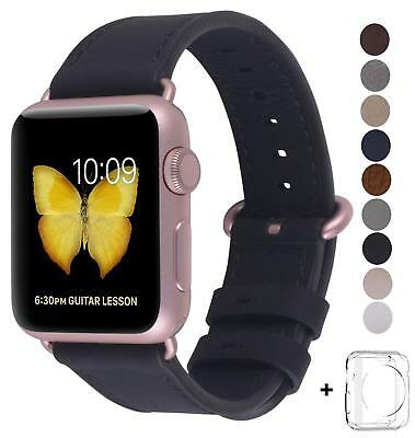 3f338bcf7 Apple Watch Band Leather Loop Iwatch Series1 2 Black Rose Gold Buckle 38Mm  Strap