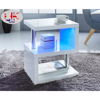 High Gloss 2 Tier Side/Coffee Table With LED Light Living Room Decor-White