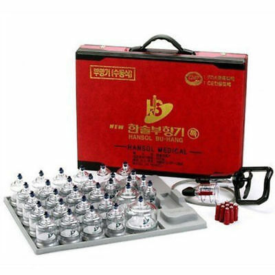 Hansol Professional Cupping Therapy Equipment 30 Cups Set with Pumping Handle