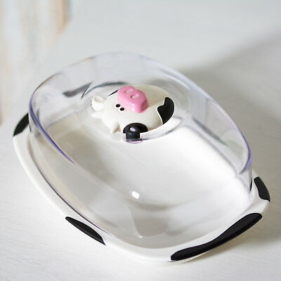 Plastic Butter Storage Dish with Lid Novelty Cow Farm Serving Bowl Dining Table