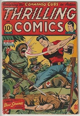 Thrilling Comics #42,classic Schomburg Wwii Cover,light Resto,nice Pages
