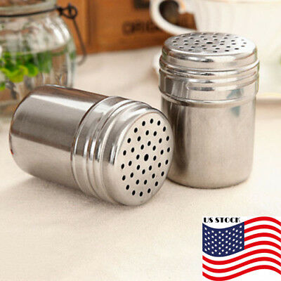 US New Spice Sugar Salt Pepper Shaker Bottle Stainless Steel Kitchen Storage Box