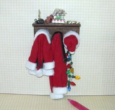 Miniature Hanging Santa Suit and Hat w/Accessories #3: DOLLHOUSE Christmas 1/12