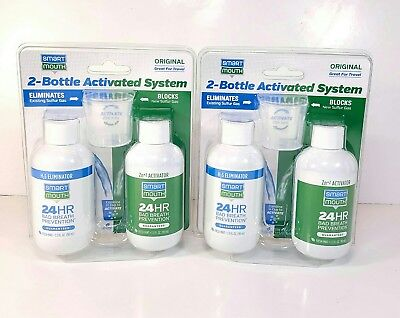 Smart Mouth Activated Mouthwash Two Bottle Prevent Bad Breath 24 Hours Lot of 2