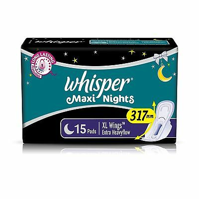 Whisper Maxi Nights - XL Wings (15 Pads)   | Free Shipping