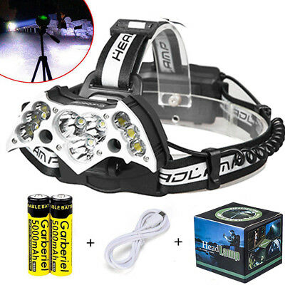 200000LM Garberiel 11LED Headlamp USB Rechargeable 18650 Headlight Torch Lamp US
