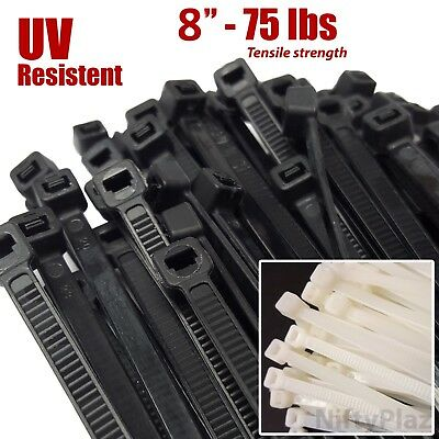 8 Inch 75 LBs Cable Ties, UV Weather Resistant, Nylon Plastic Wrap Zip Ties