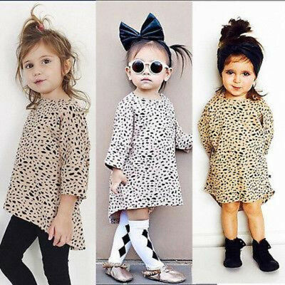 Girl's Casual 3/4 Long Sleeved Leopard Dress Size 6M-4T (Free Shipping)