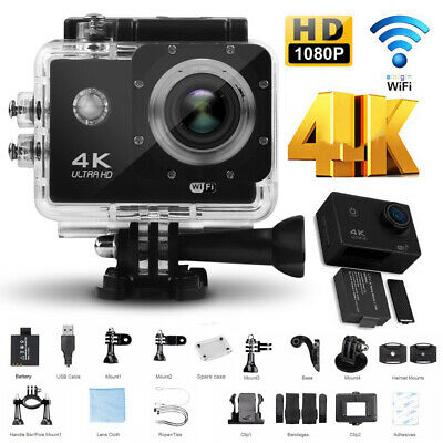 "4K Ultra HD Wifi 1080 Action Cam 2""Screen Waterproof Sport Action Camera+Remote"
