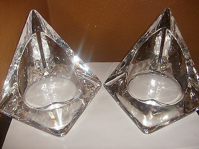 vintage Glass Candle holders set of 2 thick Crystal glass nice 5 tall 7 wide