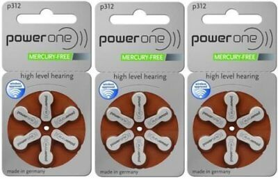 Power One Size Size 312 Hearing Aid Batteries, 20 Packs (Total of 120 Batteries)