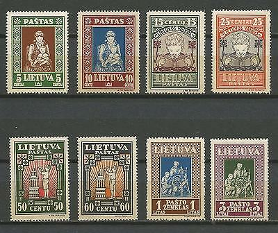 Lithuania Litauen 1933 MNH Mi 364-371 Sc 277C-77K IVth Child issue perforated