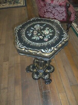 Antique Paper Mache Sewing stand With mother of pearl inlaid