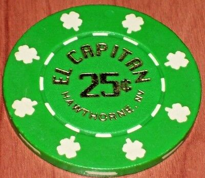 $ .25 Fractional Gaming Chip From The El Capitan Casino In Hawthorne, Nv