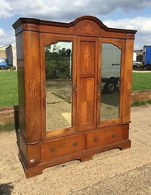 Large Antique Inlaid Wardrobe with Bevelled Mirrored Doors FREE UK DELIVERY