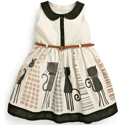 Girl's Toddler Sleeveless Cat Print Dress with Belt Size 2-7Y  (Free Shipping)