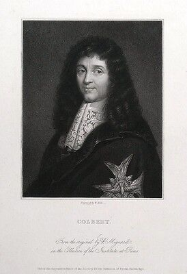 JEAN BAPTISTE COLBERT, French politician original antique portrait print c1840