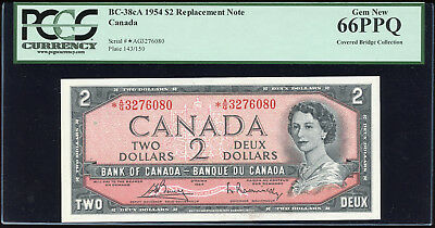 1954 Bank of Canada $2 *A/G3276080 Replacement - PCGS Gem 66PPQ - Pristine