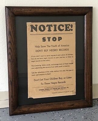"""Rare Black Americana Framed Poster Notice """"Don't Buy Negro Records"""" New Orleans"""