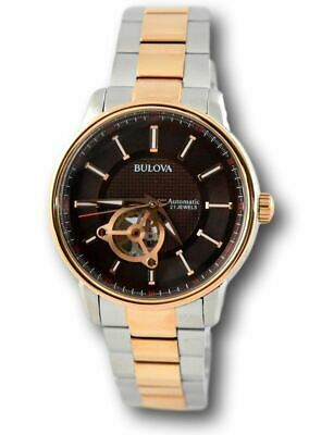 Bulova 98A140 Men's Rose Gold Brown Dial Open Heart Automatic Stainless Watch